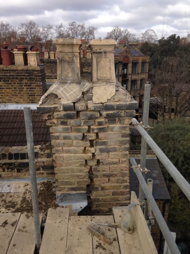 Chimney stack in serious need of repair