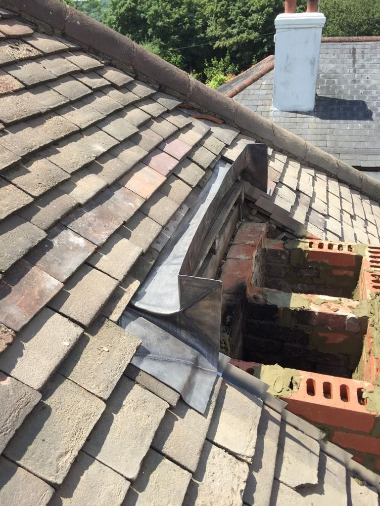 New lead flashing before rebuilding chimney stack