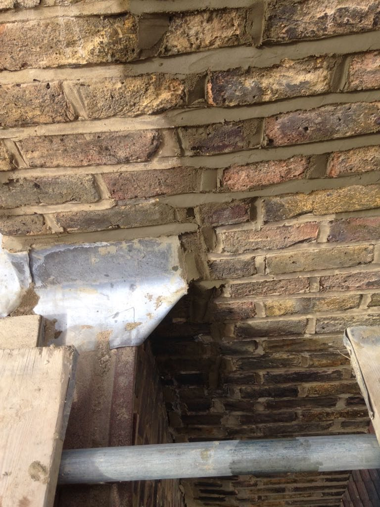 Replacement lead flashing on chimney stack