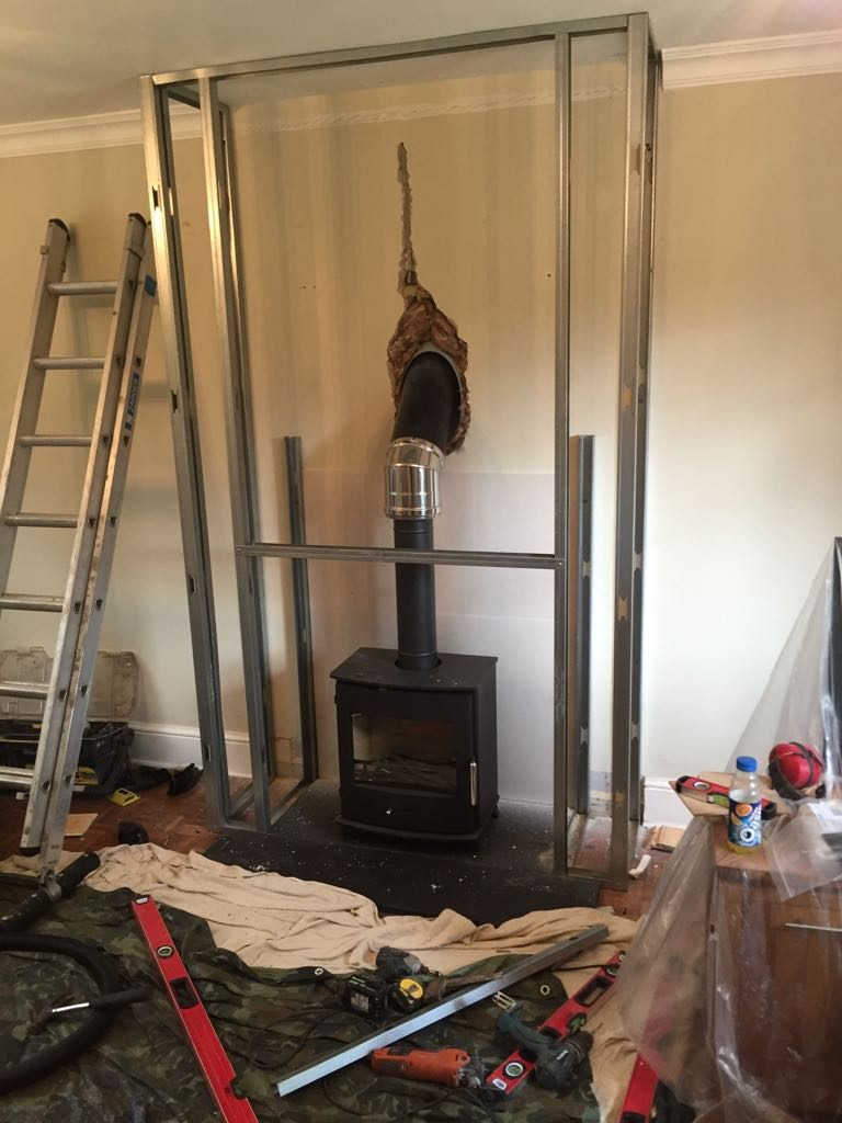 Stove in place and flue through wall
